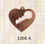 Estampe en cuivre vrac  pendentif COEUR+CLE