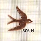 Estampe en cuivre vrac   HIRONDELLE 27X30MM