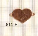 Estampe en cuivre vrac   COEUR 2 trous .23X18MM